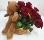 Cesta Rosas Vermelhas c/ Peluche